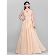 Floor-length Chiffon Bridesmaid Dress - Royal Blue / Ruby / Champagne / Grape Plus Sizes / Petite A-line Jewel