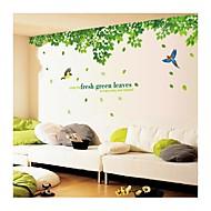 samolepky na zeď na stěnu, styl čerstvé zelené listy a pták z PVC samolepky na zeď