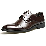 Men's Spring Summer Fall Winter Leather Patent Leather Party & Evening Chunky Heel Lace-up Split Joint Black Brown