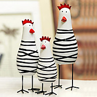 A Set Of 3 Novelty Easter Painted Chicken Family,Wood