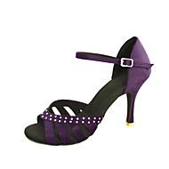 סנדלי נשים להתאמה אישית לטיניות סאטן עם נעלי ריקוד ריינסטון (צבעים נוספים)