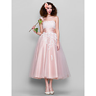 TS Couture® Cocktail Dress - 1950s Plus Size / Petite A-line Strapless Ankle-length Tulle / Stretch Satin with Lace / Ruching