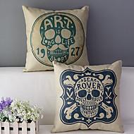 Conjunto de 2 a capa de travesseiro decorativo crânios algodão / linho impressa