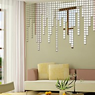 Acrylic Wall Stickers Mirror Wall Stickers Wall Decals, DIY Square Mosaic Mirror(25 Pcs)
