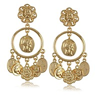 Fashion Newest Italian Design Baroque Royal Wind King Brand Cameo Coin Gold Dangle Earrings for Women