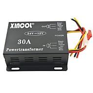 xincol® fordons bil dc 24v till 12v 30a strömförsörjning transformator omvandlare-svart