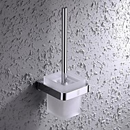 HPB®,Toilet Brush Holder Chrome Wall Mounted 11.5*12cm(4.2*4.7 inch) Brass / Stainless Steel / Glass Contemporary