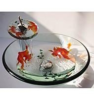 goudvis ronde gehard glas schip zinken met waterval kraan, pop - up afvoer en montage ring