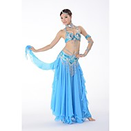 Belly Dance Outfits Women's Performance Chiffon Sequined Buttons Paillettes Pattern/Print Sequins 3 Pieces Sleeveless DroppedSkirt Hip