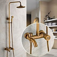 Traditional Shower System Rain Shower / Handshower Included with  Ceramic Valve Single Handle Three Holes for  Antique Brass , Shower