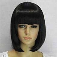 nova chegada naturais bobo preto curto peruca de cabelo em linha reta com estrondo completa