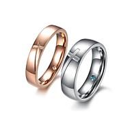 Couples' Titanium Ring Crystal Titanium
