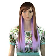 Long Straight Party Wig Light Brown Purple Mixcolor Side Bang