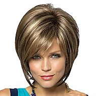 Women's Fashionable Short Dark Brown Blonde Mixed color Wigs with Side Bang