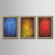 pittura a olio moderna astratta fortunata serie albero di 3 dipinto a mano di lino naturale con telaio allungato