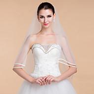 Wedding Veils Women's Elegant Tulle One-tier Ribbon Edge Veils