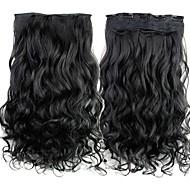 24 inch 120g lange zwarte synthetische krullend clip in hair extensions met 5 clips