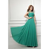 Formal Evening Dress Sheath / Column Bateau Floor-length Chiffon with Beading / Sash / Ribbon / Ruching