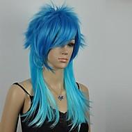 여성의 우수한 블루 혼합 직선 긴 코스프레 가발