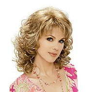 Women's Fashionable Blonde Brown Mixed color Medium Length Curly Wigs with Side Bang