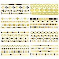 12 pcs padrões todos diferentes pulseiras longos adesivos tatuagem (padrões aleatórios) 14x6 cm