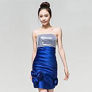 Cocktail Party Dress - Royal Blue Sheath/Column Strapless Ankle-length Silk