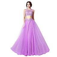 Formal Evening Dress - Two Pieces A-line Jewel Floor-length with Beading
