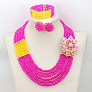 2015 African Wedding Crystal Necklace Bracelet Earrings Jewelry Set