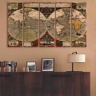 e-HOME lona envuelta arte del mapa del mundo Conjunto de la decoración de pintura de 5