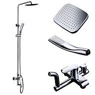 Chrome Bathroom European Shower System Rainfall Shower Head Adjustable Shower Bar Wall Mount TRIPLE FUNCTION, X6611A