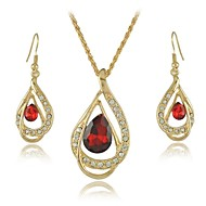 New 18K Yellow Gold Filled Ruby Blue Clear Austrian Crystal Pendant Necklace Jewelry Sets  (More Colors)