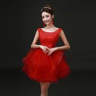 Formal Evening Dress A-line Scoop Short/Mini Satin Dress