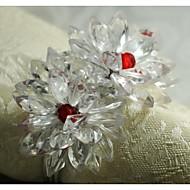 crystal květ prsten ubrousku, akryl, 1.77inch, sada 12