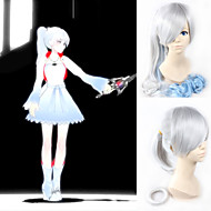 Angelaicos Women RWBY Weiss Schnee White Trailer Lolita Long Curly Blue Gradient Halloween Cosplay Wigs 90cm Ponytail