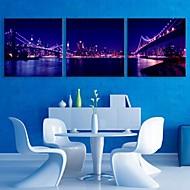 Bridge City Night Stampa tela e-Home® con luci a led set di 3