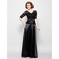 Sheath / Column Plus Size / Petite Mother of the Bride Dress Floor-length Half Sleeve Lace / Stretch Satin withBeading / Bow(s) / Lace /