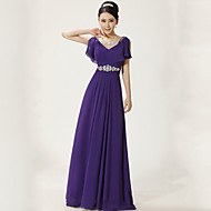 Formal Evening Dress A-line V-neck Floor-length Chiffon with Sash / Ribbon / Pleats / Sequins
