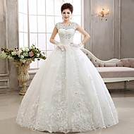 Ball Gown Wedding Dress Floor-length Jewel Lace with Appliques / Beading
