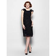 Sheath/Column Plus Sizes / Petite Mother of the Bride Dress - Black Knee-length Sleeveless Chiffon / Lace