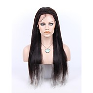 26Inch 100% Brazilian Queen Hair Front Lace Wig Straight with Baby Hair in Front Off Black