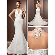 Lanting Bride Trumpet/Mermaid Petite / Plus Sizes Wedding Dress-Court Train Halter Lace