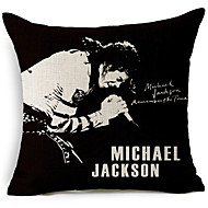 Modern Style Michael Jackson Singing Patterned Cotton/Linen Decorative Pillow Cover