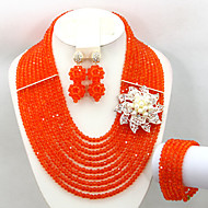 African Beads Jewelry Set Crystal Necklace Bridal Jewelry Set AC057