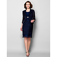 Sheath/Column Plus Size / Petite Mother of the Bride Dress - Knee-length 3/4 Length Sleeve Chiffon / Taffeta