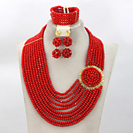 Charming Red Crystal Bridal Jewelry Set African Wedding Beads Jewelry Set 2015