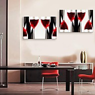 E-HOME® Stretched Canvas Art  Wine Cup Decoration Painting Set of 2