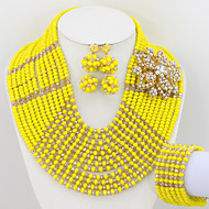 Nigerian Wedding Beads Jewelry Set African Crystal Full Beads Bridal Necklace Earrings Bracelet Set