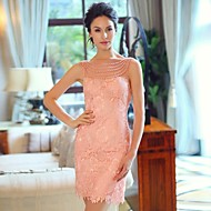 Formal Evening Dress - Pearl Pink Plus Sizes Sheath/Column Bateau / Strapless Short/Mini Satin