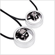 Fashion Titanium Circle with Circle Pendant Leather Couple Necklace in Daily