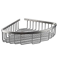 Polished/Brushed Stainless Steel Bathroom Corner Triangular Tub and Shower Caddy Basket